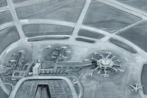 « Aera of turbulence », 2006, huile su toile, 130 x 150 cm