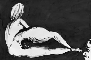 « le sphinx #2 », 2006, encre de chine sur papier, 50 x 65 cm