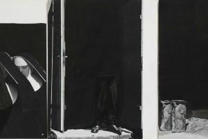 « pologne #1 », 2010, encre de chine sur papier imprimé – triptyque, 28 x 21,5 cm chacun