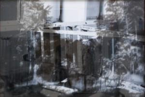 Sans titre #4 – Série « Superpositions », 2009, Jet d'encre sur papier et sur verre, 93 x 134 cm