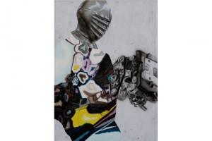 « Chevalier/Moteur », 2007, huile et acrylique sur toile, 110 x 80 cm