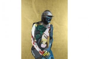 « Chevalier féminin », 2008, huile, acrylique et feuille d'or sur toile, 155 x 122 cm