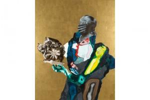 « Chevalier/moteur or », 2008, huile, acrylique et feuille d'or sur bois, 150 x 120 cm