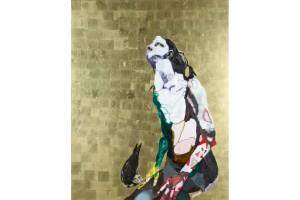 « Nu (Aurélie) avec un busard », 2008, huile, acrylique et feuille d'or sur bois, 155 x 122 cm