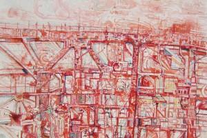 « sans titre (bridge) », 2008, technique mixte sur papier, 95 x 135 cm