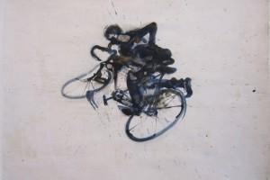 « cycliste endormi III », 2011, technique mixte sur papier, 50 x 60 cm