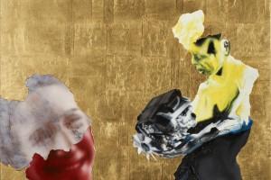 « Donner un moteur #1 », 2011, huile, acrylique et feuille d'or sur dibond, 45 x 59,5 cm
