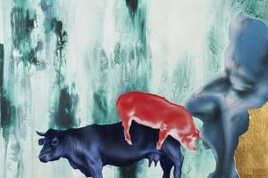 « Essen, Viel Essen », 2011, acrylique, tempera et feuille d'or sur dibond, 45 x 59,5 cm