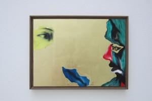 Sans titre, 2012, huile, acrylique et feuille d'or sur dibond, 27,5 x 37 cm