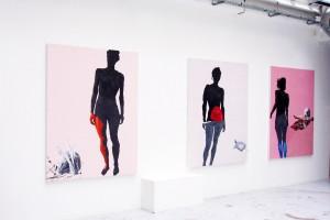 « Nu rose (Clémentine) », « Nu à la tortue », « Nu au crâne » – 2006, peinture acrylique et huile sur toile, 173 x 135 cm