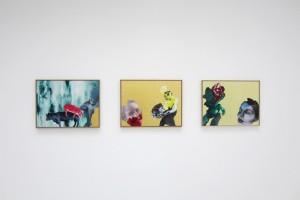 « Essen, Viel Essen », « Donner un moteur I », « Donner un moteur II » –2011, huile, acrylique, tempera et feuille d'or sur dibond, 45 x 59,5 cm