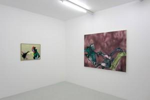 « Toucher la vache », 2010, huile, acrylique et feuille d'or sur dibond, 59 x 74,5 cm ; « Europe (Inquiète) », 2011, huile, acrylique et cheveux sur toile, 135 x 172,5 cm