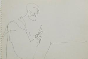 « Magritte (personnage méditant sur la folie-1928) », 1998, crayon sur papier, 32 x 41 cm