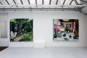 « Rechercher », 2011, huile sur toile, 200 x 200 cm ; « Full Moon », 2011, huile sur toile, 195 x 238 cm