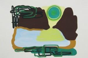 « paysage au soleil vert », 2012, gouache sur papier, 56 x 76 cm