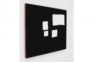 « 4 formes blanches », 2003, acrylique sur tissu, 65 x 81cm