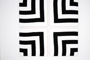 « auto-reverse », acrylique sur tissu, 4 toiles, 120 x 120 cm chacune