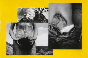 « quelques effets du volcanisme I », 2009, collage sur peinture acrylique, 55 x 75 cm