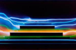 « règles filées #8 », 2007, photogramme couleur, cibachrome, 69 x 126 cm