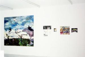 « A A donkey », 2004, huile sur toile, 200 x 235 cm / « A palmiers », 2004, huile sur toile, 21 x 52 cm / « Souffre », 2003, huile sur toile, 38 x 27 cm / « Cay Bardak », 2002, huile sur toile, 21 x 14 cm / « Cow Boy », 2003, huile sur toile, 21 x 17 cm / « Werther », 2003, huile sur toile, 46 x 55 cm / « Lax Airport », 2002, huile sur toile, 24 x 33 cm