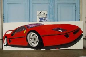 « Ferrari F40 », 2005, huile sur toile, 120 x 450 cm