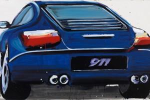 « Porsche », 2007, peinture enamel sur toile, 120 x 210 cm