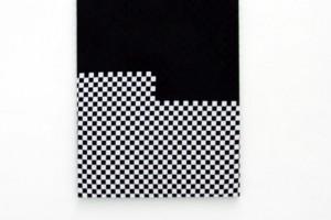 « Noir sur damier », 2011, acrylique sur tissu, 130 x 97 cm