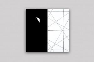 « 3 trames strip-teasing (0°-30°-55°) », 2009, acrylique sur toile sur bois, 100 x 100 cm