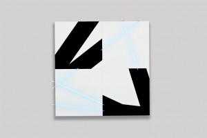 « 5 lignes au hasard (PI) en peinture et en néon n°6 », 2012, 200 x 200 cm – 4 tableaux 100 x 100 cm