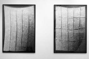 « Coupon cachemire #1 et #2 », 1997, photogrammes noir et blanc, argentiques, 156 x 106 cm
