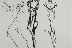 sans titre, 1992, gouache et fusain sur papier, 24 x 32 cm