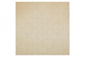 « 2 doubles trames de tirets 0°-90°, 45°-135° » (verso), 1973, feutre noir sur papier cartonné, 37 x 37 cm
