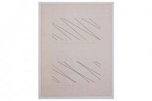 « 1 trame 30°, 1 trame 40° avec intersection dans un angle », projet pour adhésif, 1977, encre sur papier millimétré, 65 x 50 cm