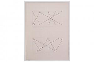 « 4 trames 30° 60° 120° 150° partant des 4 angles du mur – intervalles : hauteur du mur », projet pour adhésif, 1977, encre sur papier millimétré, 65 x 50 cm