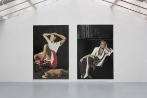 « RIP_Heim Ins Reich (Balthus) » & « RIP_Cold Earth (Delacroix) », 2009-2010, peinture Enamel sur toile, 300 x 200 cm