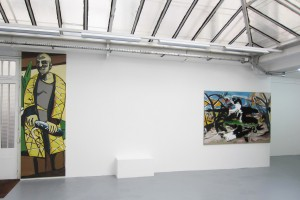 « RIP_Komma Klar (Beckmann) », 2009, peinture Enamel sur toile, 300 x 100 cm & « RIP_Looking for the Perfect Beat (Douanier Rousseau) », 2012-2013, peinture acrylique et Enamel sur toile, 300 x 200 cm