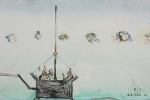 « Nacelle », 2011, encre et aquarelle sur papier, 17,5 x 27 cm