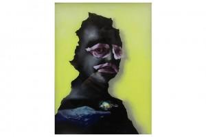 « petit noir avec oiseau (fond jaune) », 2013, peinture sur verre, 40 x 30 cm