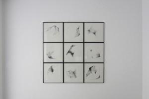 « Pari gagné », 1991, encre de chine sur papier, 50 x 50 cm, série de 9 dessins