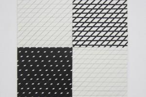 « Strip-teasing 0°-45° », 2007, crayon, adhésif et acrylique sur papier, 46x 46 cm