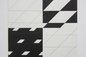 « Strip-teasing 0°-45° », 2007, crayon et acrylique sur papier, 46x 46 cm
