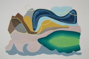 «Paysage et lac arc en ciel», gouache sur papier, 2012