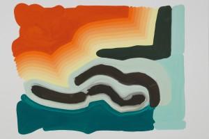 «Formes et arc en ciel», 2014, gouache sur papier, 56 x 75 cm