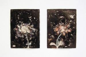 « Flowers », 2014, technique mixte sur papier, dyptique, 76 x 57 cm chaque