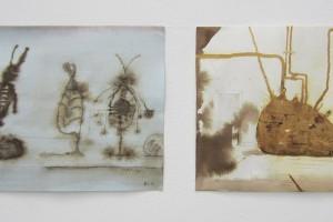 sans titre #10 et sans titre #9, 2014, technique mixte sur papier, 21 x 29,7 cm chaque