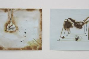 sans titre #12 et sans titre #11, 2014, technique mixte sur papier, 21 x 29,7 cm chaque
