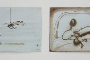 sans titre #14 et sans titre #13, 2014, technique mixte sur papier, 21 x 29,7 cm chaque