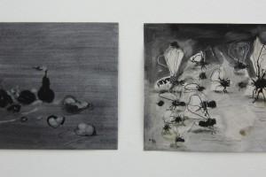 sans titre #2 et sans titre #1, 2014, technique mixte sur papier, 21 x 29,7 cm chaque