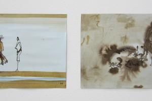 sans titre #6 et sans titre #5, 2014, technique mixte sur papier, 21 x 29,7 cm chaque