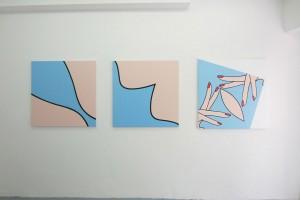 « Balnéaire », 2010 – « Balnéaire », 2010, acrylique sur toile, 100 x 100 cm – « Balnéaire (mains) », 2010, acrylique sur toile, 105 x 105 cm